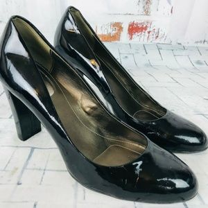 Calvin Klein Olive Patent Leather Career Pump Heel